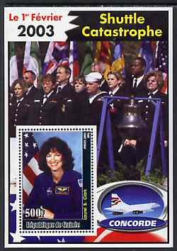 Guinea - Conakry 2003 Shuttle Catastrophe #3 perf m/sheet (Laurel B Clark & Concorde) unmounted mint