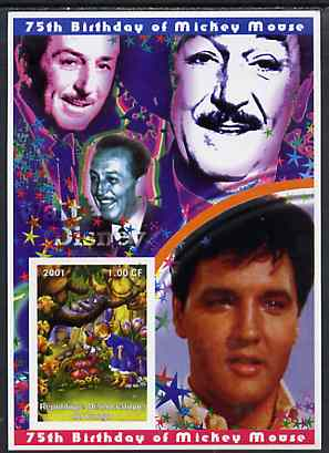 Congo 2001 75th Birthday of Mickey Mouse imperf s/sheet #01 showing Alice in Wonderland with Elvis & Walt Disney in background, unmounted mint