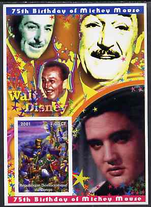 Congo 2001 75th Birthday of Mickey Mouse imperf s/sheet #02 showing Alice in Wonderland with Elvis & Walt Disney in background, unmounted mint