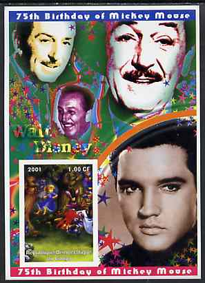 Congo 2001 75th Birthday of Mickey Mouse imperf s/sheet #08 showing Alice in Wonderland with Elvis & Walt Disney in background, unmounted mint