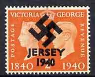 Jersey 1940 Swastika opt on Great Britain KG6 Centenary 2d produced during the German Occupation but unissued due to local feelings. This is a copy of the overprint on a genuine stamp with forgery handstamped on the back, in presentation folder.