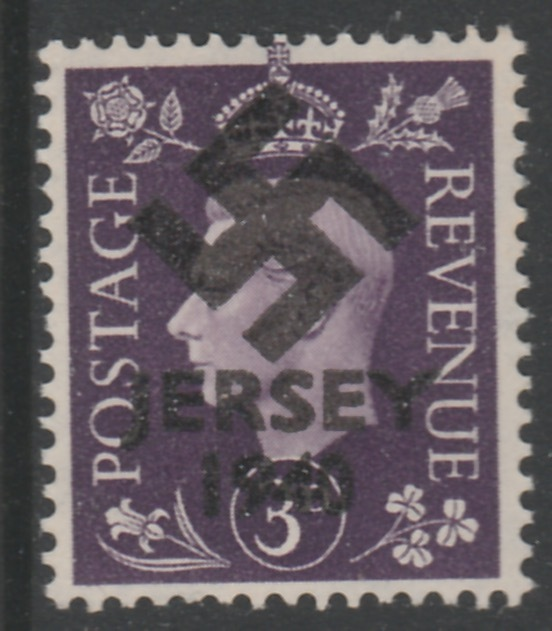 Jersey 1940 Swastika opt on Great Britain KG6 3d violet produced during the German Occupation but unissued due to local feelings. This is a copy of the overprint on a genuine stamp with forgery handstamped on the back, unmounted mint in presentation folder.
