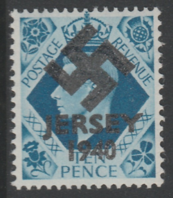 Jersey 1940 Swastika opt on Great Britain KG6 10d turquoise-blue produced during the German Occupation but unissued due to local feelings. This is a copy of the overprint on a genuine stamp with forgery handstamped on the back, unmounted mint in presentation folder.
