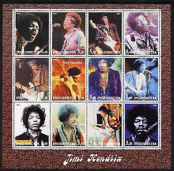 Ingushetia Republic 2001 Jimi Hendrix perf sheetlet containing 12 values unmounted mint