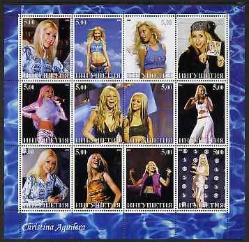 Ingushetia Republic 2000 Christina Aguilera perf sheetlet containing 12 values unmounted mint