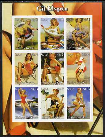 Eritrea 2003 Pin-Up Art of Gil Elvgren imperf sheetlet containing set of 9 values unmounted mint
