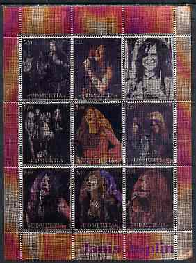Udmurtia Republic 2000 Janis Joplin perf sheetlet containing 9 values printed on metallic foil unmounted mint