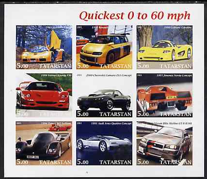 Tatarstan Republic 2001 Cars - Quickest 0 to 60 mph imperf sheetlet containing set of 9 values unmounted mint