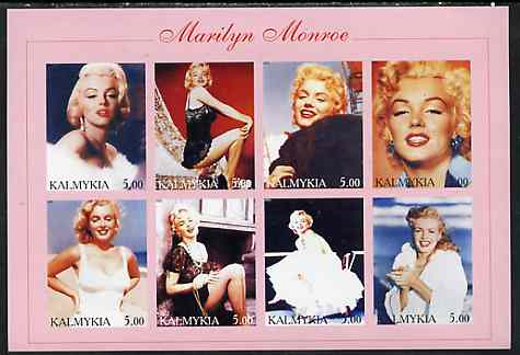 Kalmikia Republic 2001 Marilyn Monroe imperf sheetlet containing 8 values unmounted mint