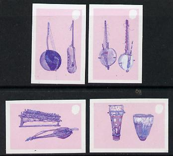 Gambia 1987 Musical Instruments the set of 4 each in imperf progressive colour proofs in blue & magenta only unmounted mint, 4 proofs as SG 686-89