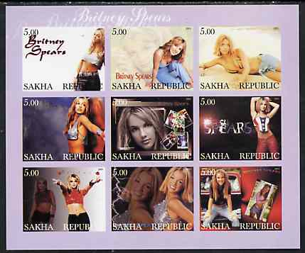 Sakha (Yakutia) Republic 2001 Britney Spears imperf sheetlet containing 9 values unmounted mint