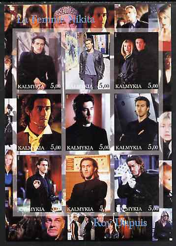 Kalmikia Republic 2002 La Femme Nikita - Roy Dupuis imperf sheetlet containing 9 values unmounted mint