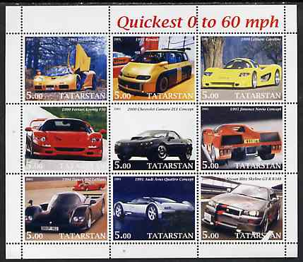 Tatarstan Republic 2001 Cars - Quickest 0 to 60 mph perf sheetlet containing set of 9 values unmounted mint
