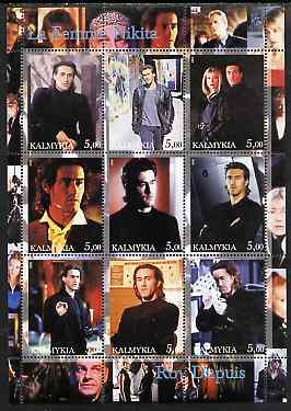 Kalmikia Republic 2002 La Femme Nikita - Roy Dupuis perf sheetlet containing 9 values unmounted mint