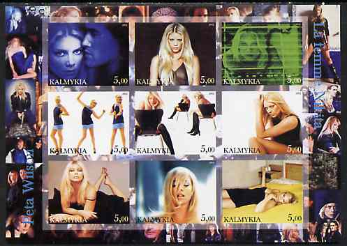 Kalmikia Republic 2002 La Femme Nikita - Peta Wilson imperf sheetlet containing 9 values unmounted mint