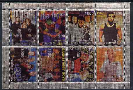 Turkmenistan 1998 Pop Stars imperf sheetlet containing 8 values printed on metallic foil unmounted mint