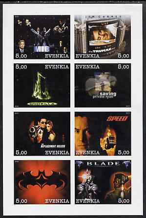 Evenkia Republic 2000 Action Movies imperf sheetlet containing 8 values unmounted mint