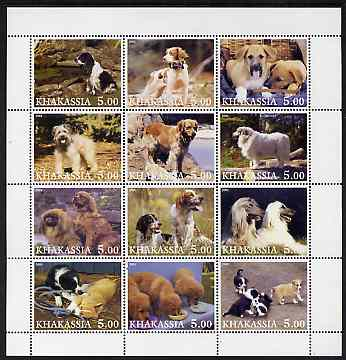 Chakasia 2001 Dogs perf sheetlet containing set of 12 values unmounted mint