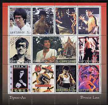 Ingushetia Republic 2000 Bruce Lee perf sheetlet containing set of 12 values unmounted mint