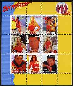 Turkmenistan 1999 Stars of Baywatch #1 perf sheetlet containing set of 9 values unmounted mint
