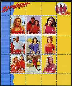 Turkmenistan 1999 Stars of Baywatch #2 perf sheetlet containing set of 9 values unmounted mint