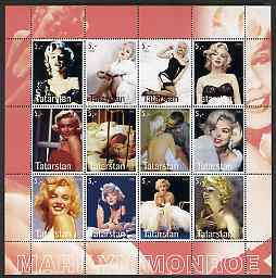 Tatarstan Republic 2003 Marilyn Monroe perf sheetlet containing 12 values unmounted mint
