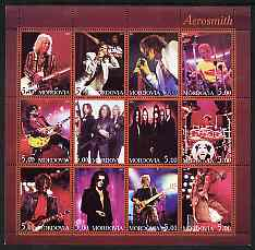 Mordovia Republic 2001 Aerosmith perf sheetlet containing 12 values unmounted mint