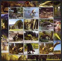 Komi Republic 2003 Dinosaurs perf sheetlet containing 12 values unmounted mint