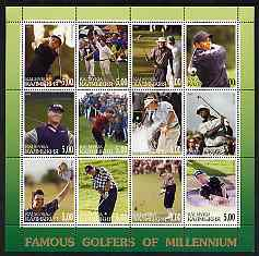 Kalmikia Republic 2001 Famous Golfers of the Millennium perf sheetlet containing 12 values unmounted mint