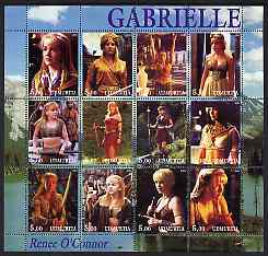Udmurtia Republic 2001 Gabrielle (Renee O'Connor) perf sheetlet containing 12 values unmounted mint