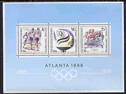 Palestine Authority 1996 Atlanta Olympic Games perf sheetlet containing 3 values unmounted mint SG MSPA83