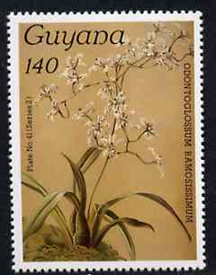 Guyana 1985-89 Orchids Series 2 plate 41 (Sanders' Reichenbachia) 140c unmounted mint, unlisted by SG without surcharge