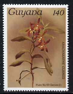 Guyana 1985-89 Orchids Series 2 plate 65 (Sanders' Reichenbachia) 140c unmounted mint, unlisted by SG without surcharge