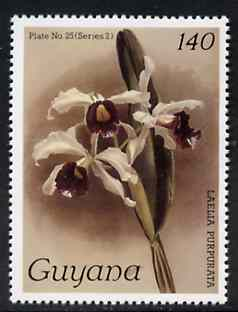 Guyana 1985-89 Orchids Series 2 plate 25 (Sanders' Reichenbachia) 140c unmounted mint, unlisted by SG without surcharge