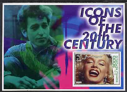 Somalia 2001 Icons of the 20th Century #01 perf s/sheet showing Marilyn Monroe with Bob Dylan in background unmounted mint