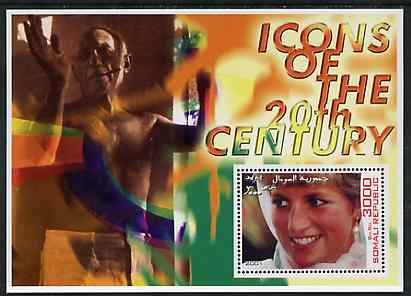 Somalia 2001 Icons of the 20th Century #04 perf s/sheet showing Princess Diana with Picasso in background unmounted mint