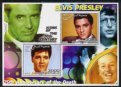 Somalia 2002 Elvis Presley 25th Anniversary of Death #01 perf sheetlet containing 2 values with Cary Grant, Walt Disney & Bill Gates in background unmounted mint, stamps on personalities, stamps on millennium, stamps on music, stamps on elvis, stamps on disney, stamps on films, stamps on cinema, stamps on computers
