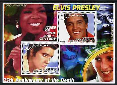 Somalia 2002 Elvis Presley 25th Anniversary of Death #02 perf sheetlet containing 2 values with Oprah Winfrey, Allen Ginsberg & Diana in background unmounted mint