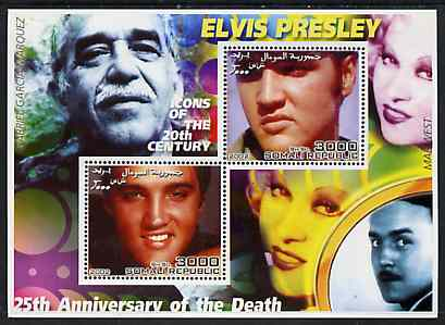 Somalia 2002 Elvis Presley 25th Anniversary of Death #03 perf sheetlet containing 2 values with Gabriel Garcia Marquez, Mae West & Charlie Chaplin in background unmounted mint