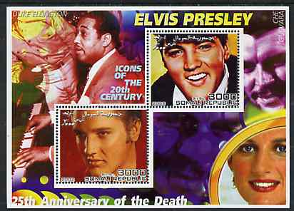 Somalia 2002 Elvis Presley 25th Anniversary of Death #04 perf sheetlet containing 2 values with Duke Ellington, Che Guevara & Diana in background unmounted mint