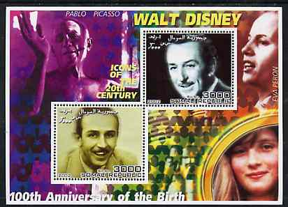 Somalia 2002 Birth Centenary of Walt Disney #01 perf sheetlet containing 2 values with Picasso. Eva Peron & Diana in background unmounted mint