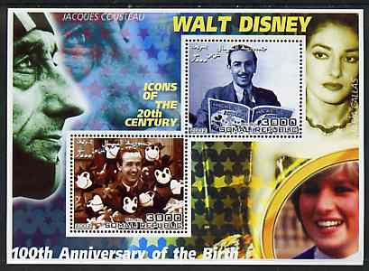 Somalia 2002 Birth Centenary of Walt Disney #02 perf sheetlet containing 2 values with Jacques Cousteau, Maria Callas & Diana in background unmounted mint, stamps on personalities, stamps on millennium, stamps on disney, stamps on films, stamps on cinema, stamps on royalty, stamps on diana, stamps on opera, stamps on music, stamps on diving
