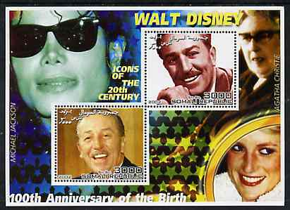 Somalia 2002 Birth Centenary of Walt Disney #03 perf sheetlet containing 2 values with Michael Jackson, Agatha Christie & Diana in background unmounted mint