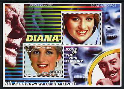 Somalia 2002 Princess Diana 5th Anniversary of Death #02 perf sheetlet containing 2 values with Marilyn, JF Kennedy & Walt Disney in background unmounted mint. Note this item is privately produced and is offered purely on its thematic appeal