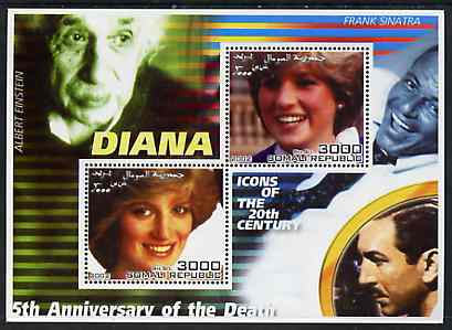 Somalia 2002 Princess Diana 5th Anniversary of Death #03 perf sheetlet containing 2 values with Einstein, Sinatra & Walt Disney in background unmounted mint