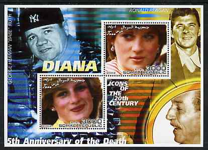 Somalia 2002 Princess Diana 5th Anniversary of Death #04 perf sheetlet containing 2 values with Babe Ruth, Ronald Reagan & Walt Disney in background unmounted mint
