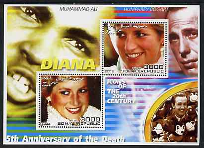 Somalia 2002 Princess Diana 5th Anniversary of Death #05 perf sheetlet containing 2 values with Muhammad Ali, Bogart & Walt Disney in background unmounted mint