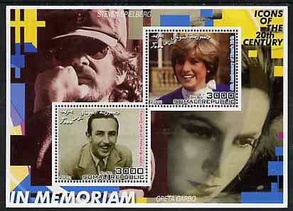 Somalia 2001 In Memoriam - Princess Diana & Walt Disney #01 perf sheetlet containing 2 values with Spielberg & Greta Garbo in background unmounted mint