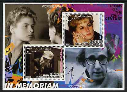 Somalia 2001 In Memoriam - Princess Diana & Walt Disney #03 perf sheetlet containing 2 values with Ingrid Bergman & Woody Allen in background unmounted mint