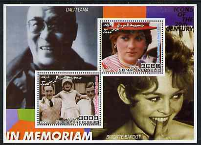 Somalia 2001 In Memoriam - Princess Diana & Walt Disney #05 perf sheetlet containing 2 values with Dalai Lama & Brigitte Bardot in background unmounted mint